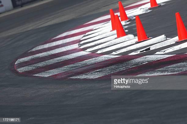 Race track corner with cones