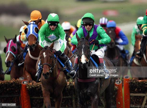 Race winner Aidan Coleman on Kayf Aramis jumps alongside Mister Gloss and Richard Johnson in the Pertemps Final Hurdle at Cheltenham Racecourse...
