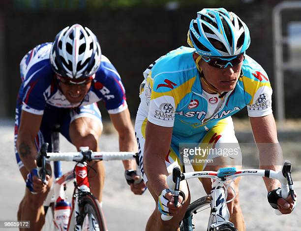 Race winner Alexandre Vinokourov of Kazakhstan and Astana leads 2nd placed Alexandr Kolobnev of Russia and Team Katusha during the 96th...