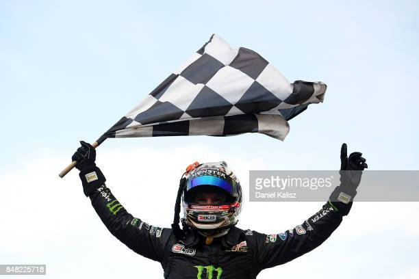 Race winner Cameron Waters driver of the Monster Energy Ford Falcon FGX celebrates after the Sandown 500 which is part of the Supercars Championship...