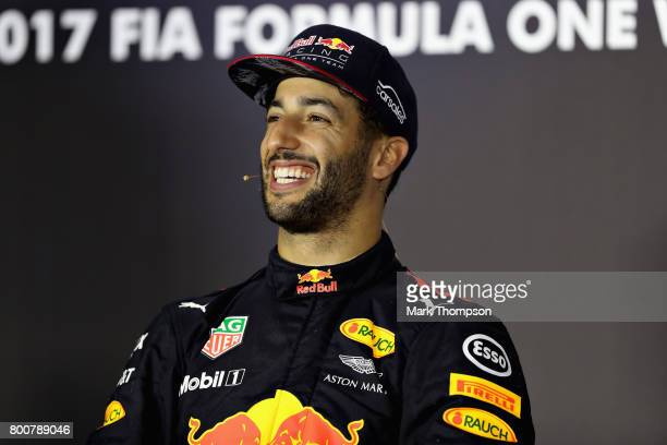 Race winner Daniel Ricciardo of Australia and Red Bull Racing in the post race press conference during the Azerbaijan Formula One Grand Prix at Baku...