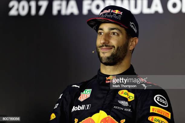 Race winner Daniel Ricciardo of Australia and Red Bull Racing in the post race press conference during the Azerbaijan Formula One Grand Prix at Baku...