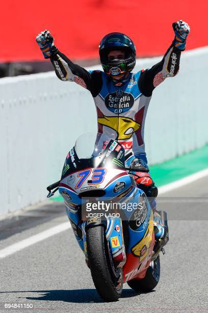 Race winner EG 00 Marc VDS Spanish rider Alex Marquez celebrates after the Moto2 race of the Catalunya Grand Prix at the Montmelo racetrack near...