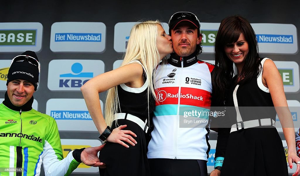 Race winner <a gi-track='captionPersonalityLinkClicked' href=/galleries/search?phrase=Fabian+Cancellara&family=editorial&specificpeople=573515 ng-click='$event.stopPropagation()'>Fabian Cancellara</a> of Switzerland and RadioShack Leopard stands on top of the podium as <a gi-track='captionPersonalityLinkClicked' href=/galleries/search?phrase=Peter+Sagan&family=editorial&specificpeople=4846179 ng-click='$event.stopPropagation()'>Peter Sagan</a> of Slovakia and Cannondale looks on during the 97th Tour of Flanders from Brugge to Oudenaarde on March 31, 2013 in Oudenaarde, Belgium.