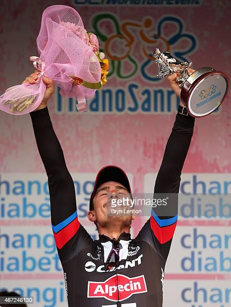 Race winner John Degenkolb of Germany and Team Giant Alpecin celebrates following the 2015 MilanSanRemo cycle race on March 22 2015 in Milan Italy