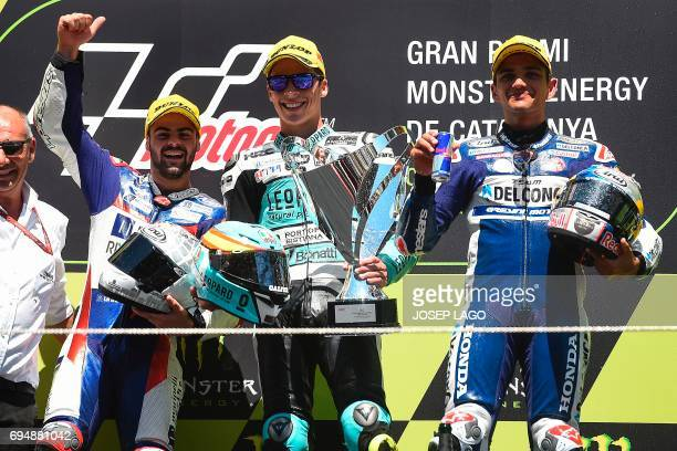 Race winner Leopard Racing's Spanish rider Joan Mir secondplaced Marinelli Rivacold Snipers' Italian rider Romano Fenati and thirdplaced Del Conca...