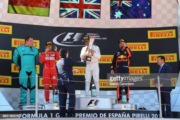 DE CATALUNYA MONTEMELò BARCELONA SPAIN Race winner Lewis Hamilton of Great Britain and Mercedes GP celebrates on the podium with second placed...