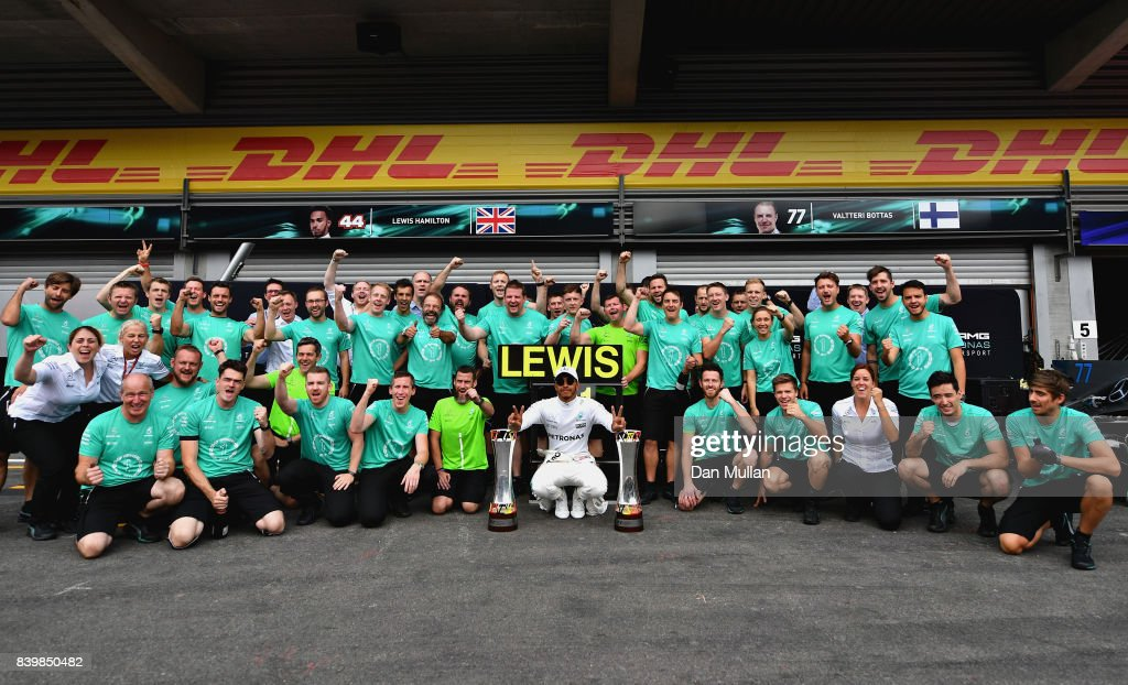 Race winner Lewis Hamilton of Great Britain and Mercedes GP celebrates with his team during the Formula One Grand Prix of Belgium at Circuit de Spa-Francorchamps on August 27, 2017 in Spa, Belgium.