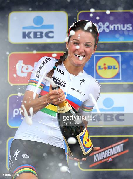 Race winner Lizzie Armstead of Great Britain and Boels Dolmans celebrates on the podium during the 100th edition of the Tour of Flanders from Bruges...