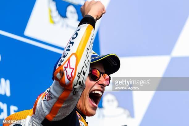 Race winner Marc Marquez of Spain Repsol Honda Team celebrates on the podium during the 2017 MotoGP of Australia Phillip Island Grand Prix Circuit in...