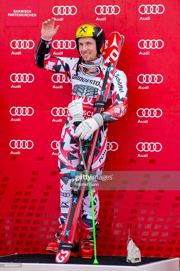 Race winner Marcel Hirscher of Austria on the podium for the Audi FIS Alpine Ski World Cup giant slalom race on March 1 2015 in GarmischPartenkirchen...
