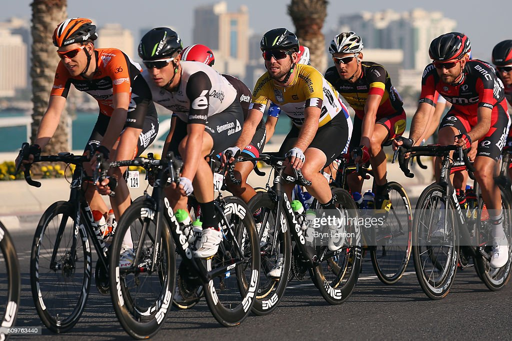 Race winner <a gi-track='captionPersonalityLinkClicked' href=/galleries/search?phrase=Mark+Cavendish&family=editorial&specificpeople=684957 ng-click='$event.stopPropagation()'>Mark Cavendish</a> of Great Britain and Dimension Data rides in the peloton at the 2016 Tour of Qatar, on stage 5 from Sealine Beach Resort to Doha Corniche, on February 12, 2016 in Doha, Qatar