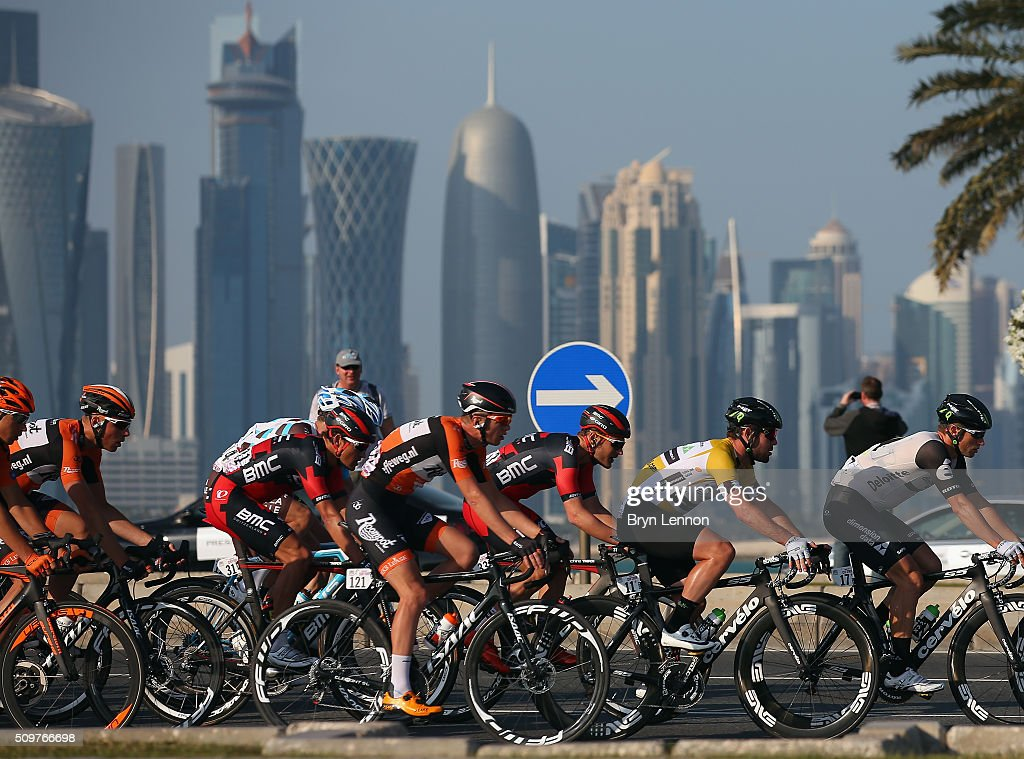Race winner Mark Cavendish of Great Britain and Dimension Data rides in the peloton at the 2016 Tour of Qatar, on stage 5 from Sealine Beach Resort to Doha Corniche, on February 12, 2016 in Doha, Qatar