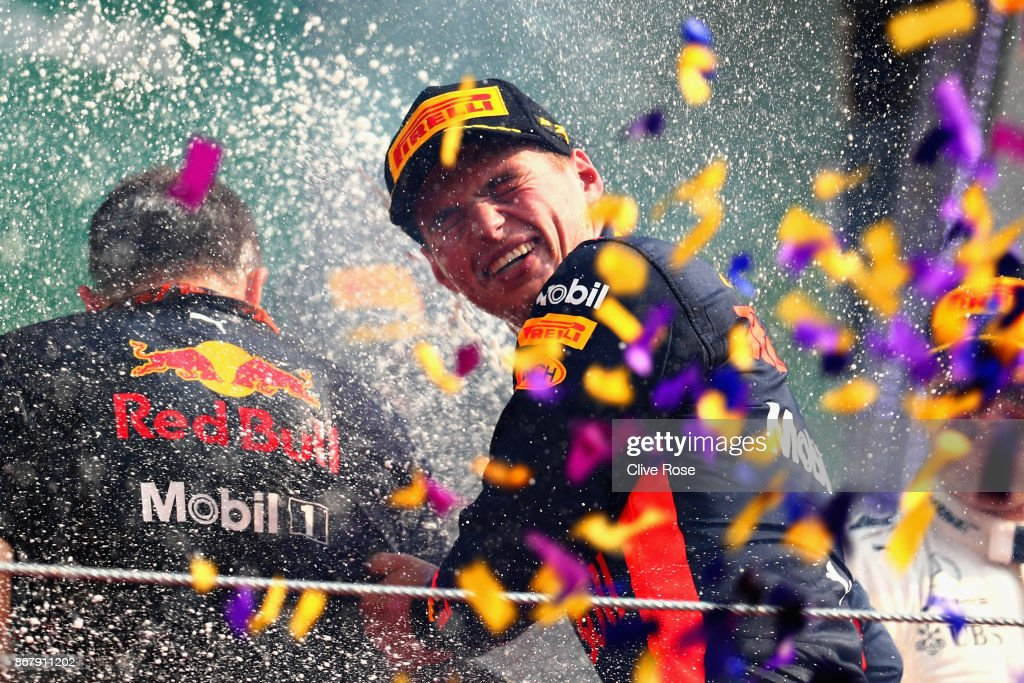 Race winner Max Verstappen of Netherlands and Red Bull Racing celebrates on the podium during the Formula One Grand Prix of Mexico at Autodromo Hermanos Rodriguez on October 29, 2017 in Mexico City, Mexico.
