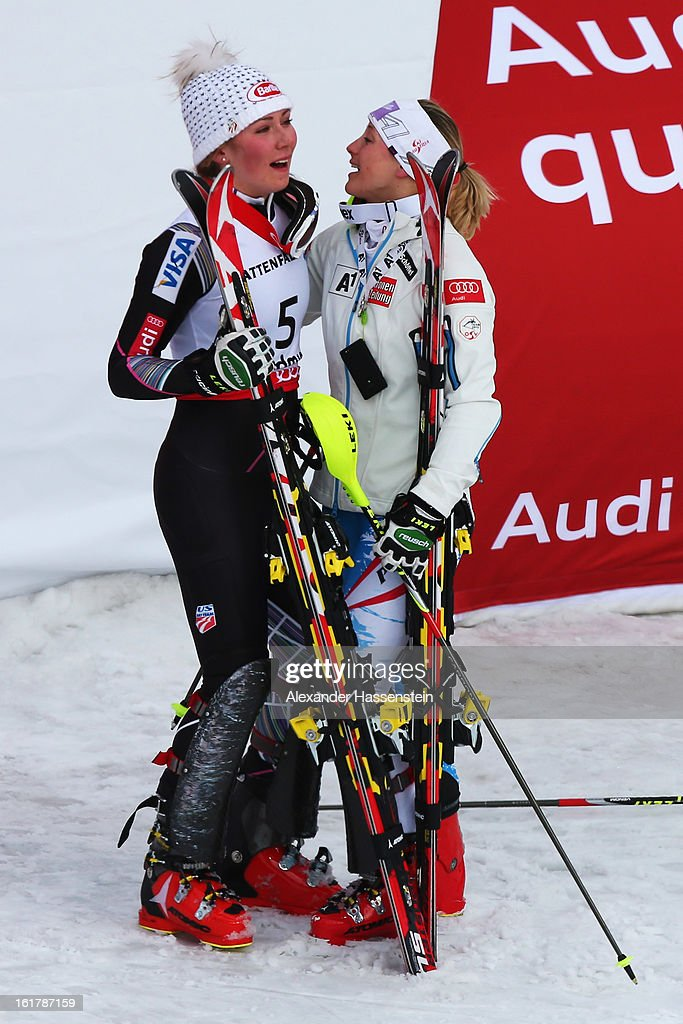 Race winner Mikaela Shiffrin (L) of the United States of America celebrates with second placed Michaela Kirchgasser (R) of Austria following the Women's Slalom during the Alpine FIS Ski World Championships on February 16, 2013 in Schladming, Austria.