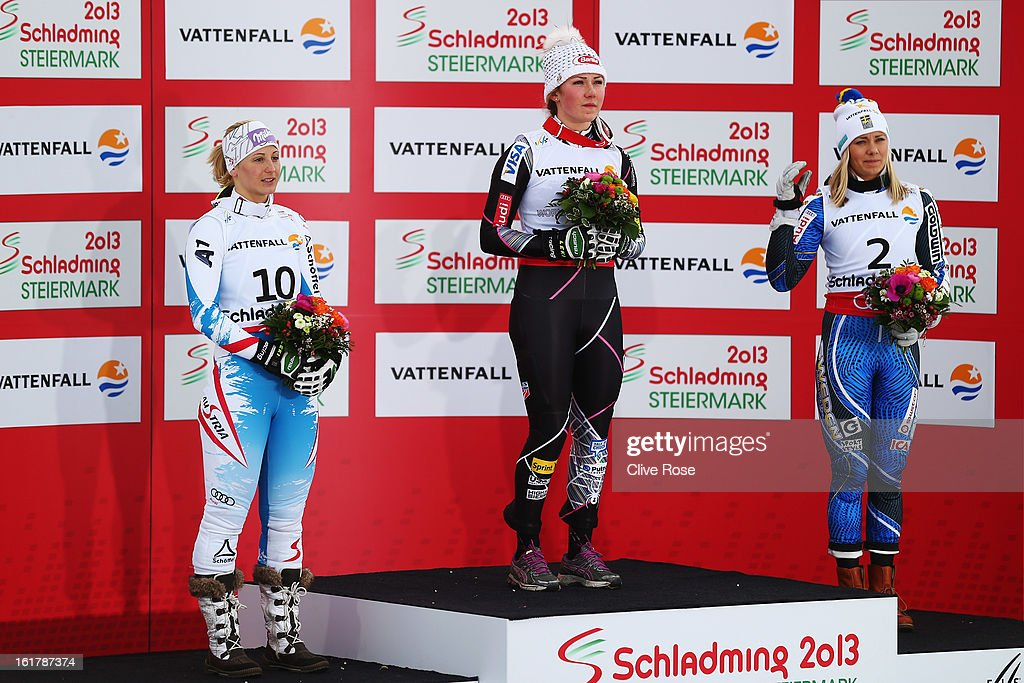 Race winner Mikaela Shiffrin (C) of the United States of America celebrates with second placed Michaela Kirchgasser (R) of Austria and third placed Frida Hansdotter (R) of Sweden following the Women's Slalom during the Alpine FIS Ski World Championships on February 16, 2013 in Schladming, Austria.