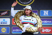 Race winner Peter Sagan of Slovakia and Tinkoff celebrates on the podium during the 100th edition of the Tour of Flanders from Bruges to Oudenaarde...