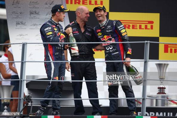Race winner Sebastian Vettel of Germany and Infiniti Red Bull Racing celebrates with Infiniti Red Bull Racing Chief Technical Officer Adrian Newey...