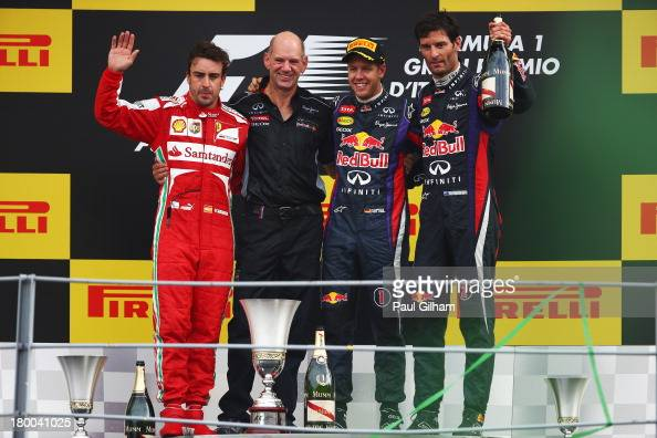 Race winner Sebastian Vettel of Germany and Infiniti Red Bull Racing second placed Fernando Alonso of Spain and Ferrari third placed Mark Webber of...