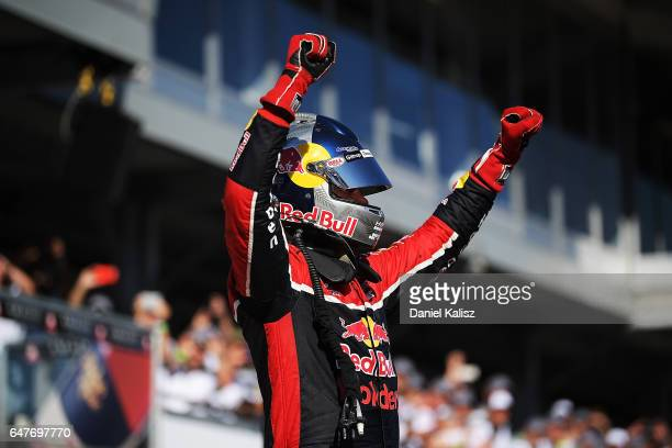 Race winner Shane Van Gisbergen celebrates in parc ferme after race 1 for the Clipsal 500 which is part of the Supercars Championship at Adelaide...