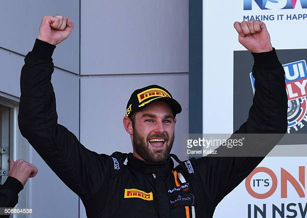 Race winner Shane van Gisbergen driver of the Tekno Autosport McLaren 650S celebrates on the podium after the Bathurst 12 Hour Race at Mount Panorama...