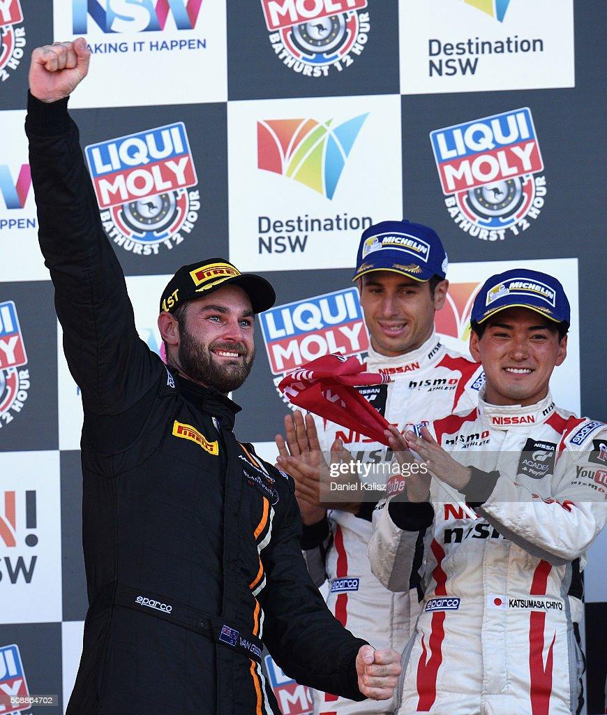 Race winner Shane van Gisbergen driver of the #59 Tekno Autosport McLaren 650S celebrates on the podium after the Bathurst 12 Hour Race at Mount Panorama on February 7, 2016 in Bathurst, Australia.