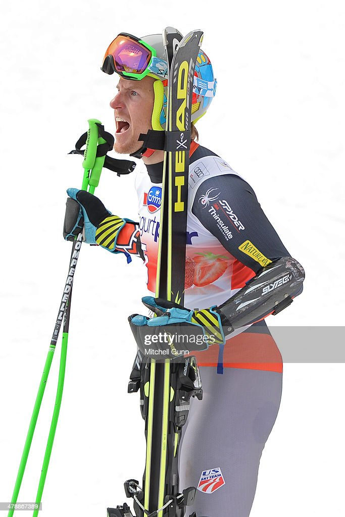 Race winner <a gi-track='captionPersonalityLinkClicked' href=/galleries/search?phrase=Ted+Ligety&family=editorial&specificpeople=580537 ng-click='$event.stopPropagation()'>Ted Ligety</a> of The USA reacts in the finish area of the Audi FIS Alpine Skiing World Cup Finals Giant Slalom on March 15, 2014 in Lenzerheide, Switzerland.