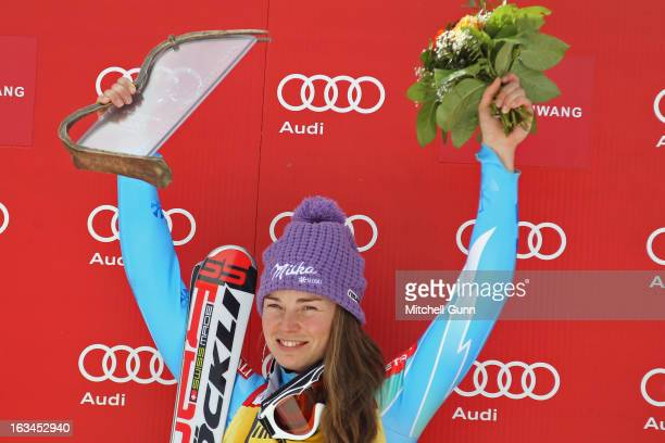 Race winner Tina Maze of Slovenia on the podium for the Audi FIS Alpine Skiing World Cup slalom race on March 10 2013 in Ofterschwang Germany