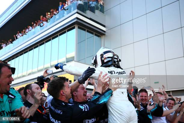 Race winner Valtteri Bottas of Finland and Mercedes GP celebrates in parc ferme during the Formula One Grand Prix of Russia on April 30 2017 in Sochi...