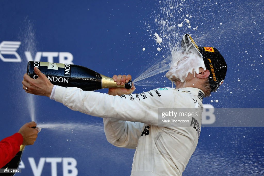 Race winner Valtteri Bottas of Finland and Mercedes GP celebrates on the podium during the Formula One Grand Prix of Russia on April 30, 2017 in Sochi, Russia.