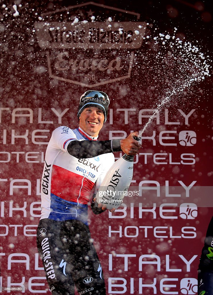Race winner Zdenek Stybar of the Czech Republic and Etixx - Quick Step celebrates following the 2015 Strade Bianche from to San Gimignano to Siena ll Campo on March 7, 2015 in Siena, Italy.