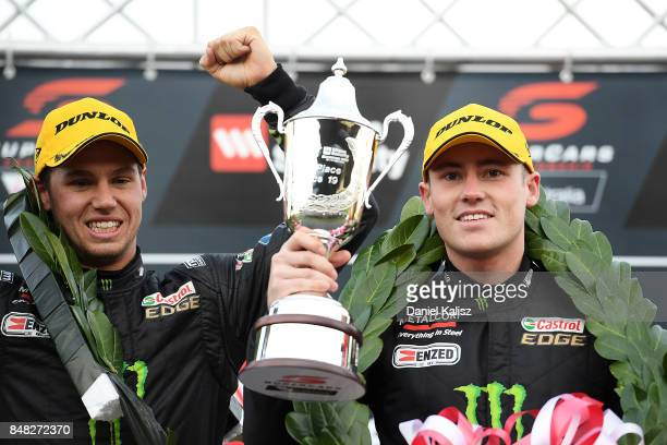 Race winners Cameron Waters driver of the Monster Energy Ford Falcon FGX and Richie Stanaway driver of the Monster Energy Ford Falcon FGX celebrate...