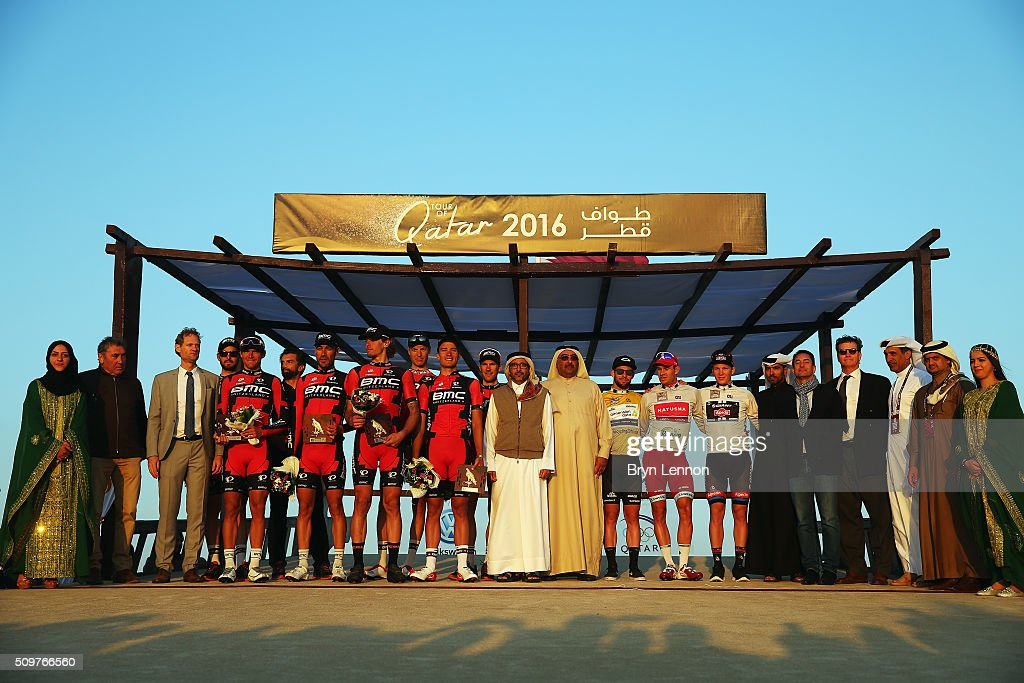 Race winners gather on the podium for a group photo during stage five of the 2016 Tour of Qatar, a 114.5km road stage from Sealine Beach Resort to Doha Corniche, on February 12, 2016 in Doha, Qatar