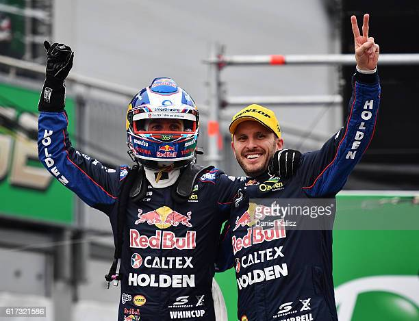 Race winners Jamie Whincup and Paul Dumbrell drivers of the Red Bull Racing Australia Holden Commodore VF celebrate after race 23 of the Supercars...