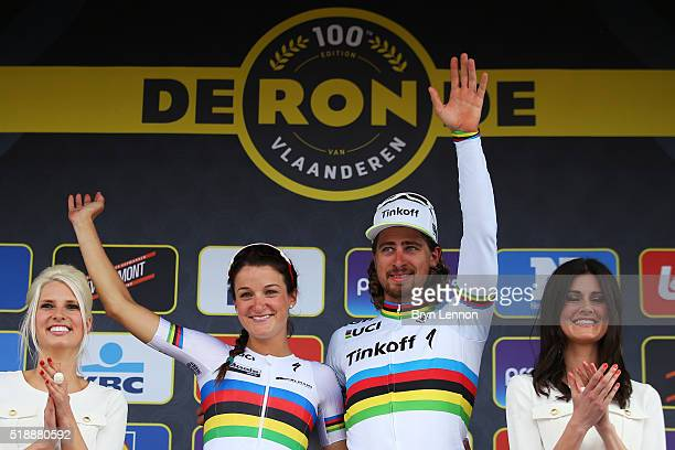 Race winners Lizzie Armstead of Great Britain and Boels Dolmans and Peter Sagan of Slovakia and Tinkoff celebrate on the podium during the 100th...
