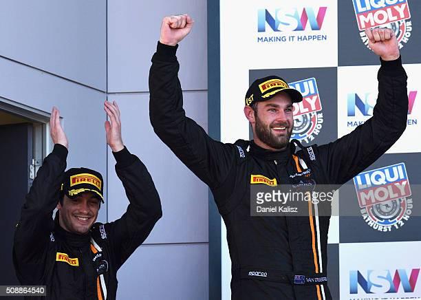 Race winners Shane van Gisbergen and Alvaro Parente drivers of the Tekno Autosport McLaren 650S celebrates on the podium after the Bathurst 12 Hour...