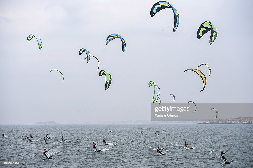 Raceboards fleet face the start during day four of the KTA Series on Pingtan Island on May 12, 2013 in Fuzhou, China.