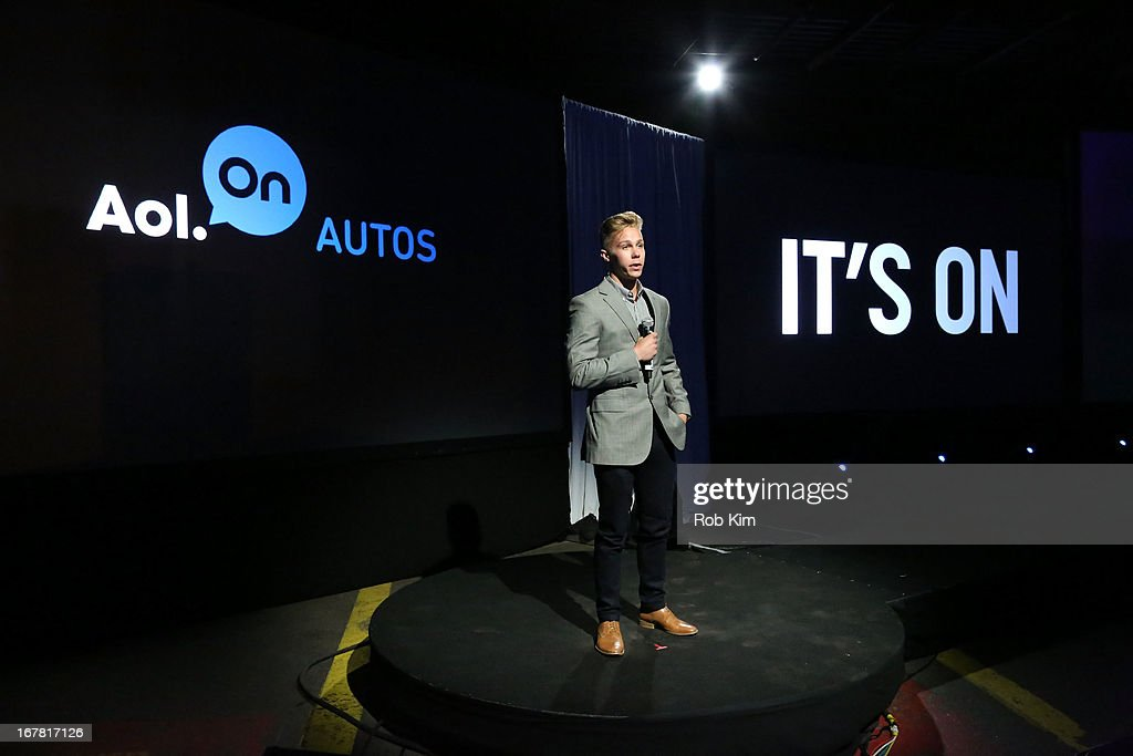 Racecar driver Dylan Kwasniewski speaks onstage at the AOL 2013 Digital Content NewFront on April 30, 2013 in New York City.