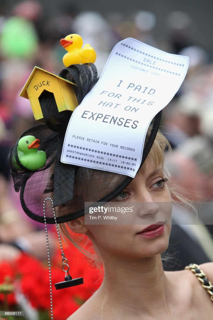 Racegoer attending Royal Ascot on Ladies Day at Ascot Racecourse on June 18 2009 in Ascot England