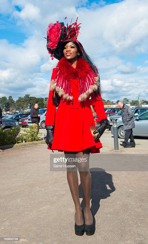 A racegoer attends the Cheltenham Festival Day 2 on Ladies Day at Cheltenham racecourse on March 13, 2013 in London, England.