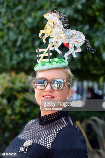 A racegoer attends the first day off Royal Ascot 2017 at Ascot Racecourse on June 20 2017 in Ascot England