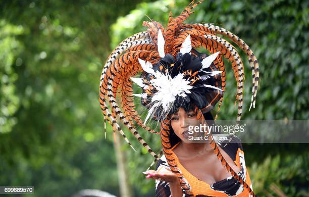 A racegoer in a hat attend Royal Ascot Ladies Day 2017 at Ascot Racecourse on June 22 2017 in Ascot England