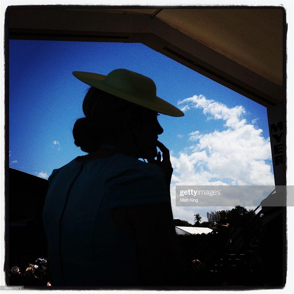 A racegoer looks on during Crown Oaks Day at Flemington Racecourse on November 8, 2012 in Melbourne, Australia.