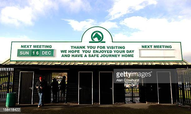 A racegoer makes his way through the turnstile during the last meeting to be held at Hereford racecourse after 241 years of racing on December 16...
