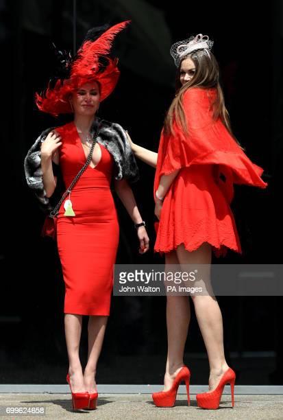 Racegoer Marinka Smiernova and friend poses during day three of Royal Ascot at Ascot Racecourse