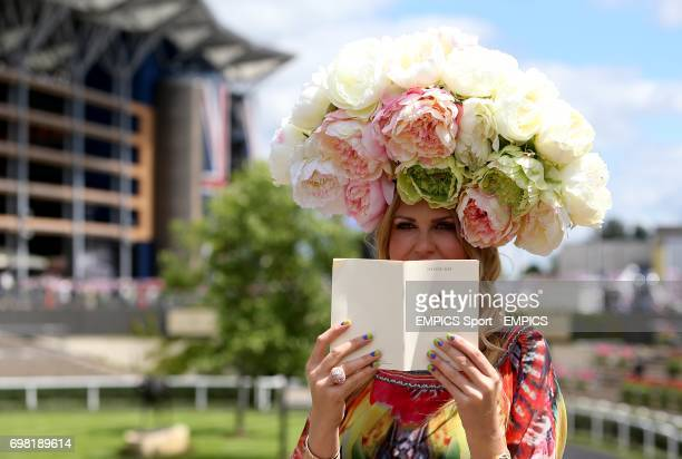 Racegoer Natalia Kapchuk with nails painted in support of Brazil's FIFA World Cup campaign during Day Two of the 2014 Royal Ascot Meeting at Ascot...