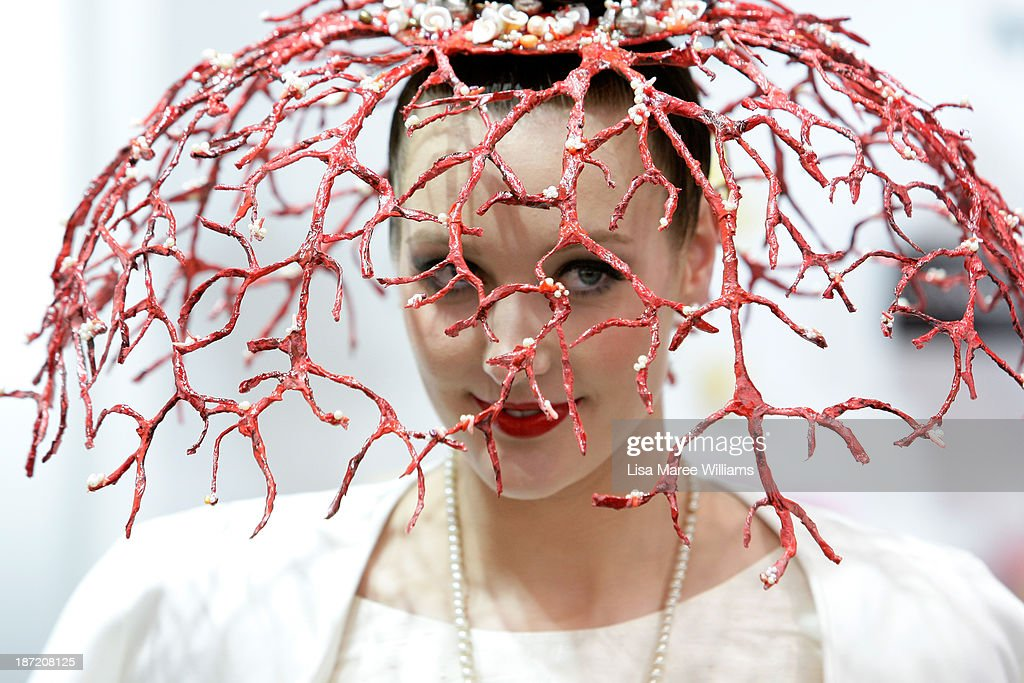 A racegoer poses during Oaks Day at Flemington Racecourse on November 7, 2013 in Melbourne, Australia.