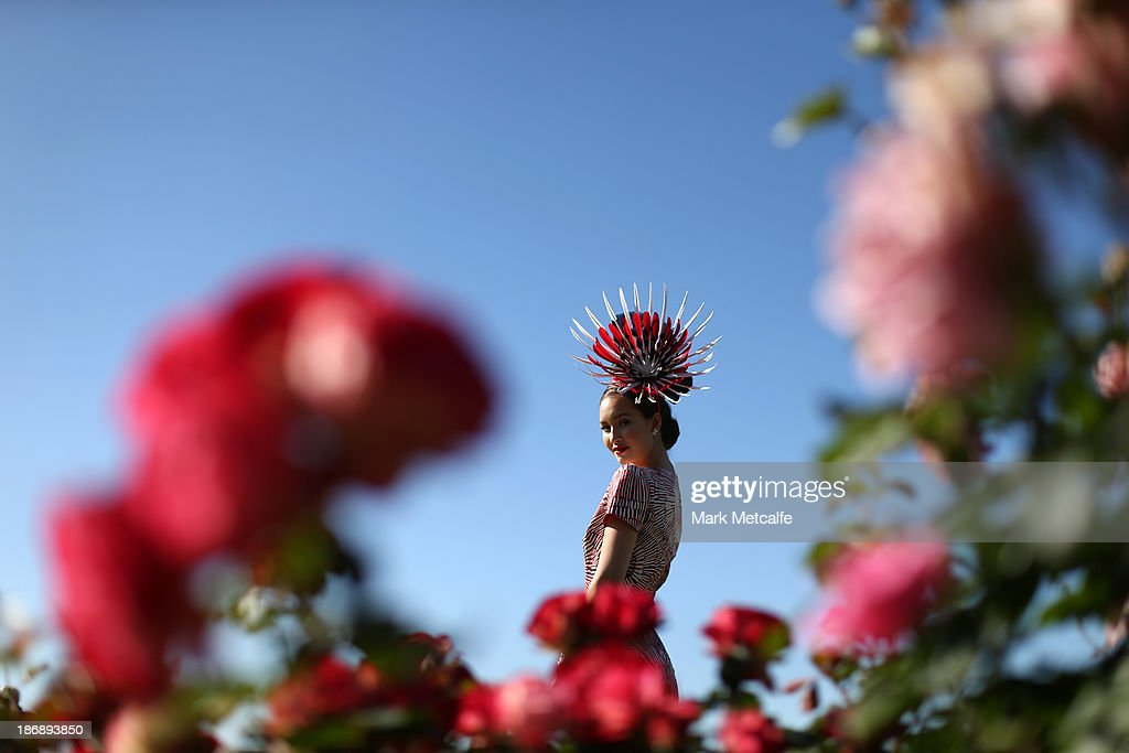 A racegoer poses for a portrait during Melbourne Cup Day at Flemington Racecourse on November 5, 2013 in Melbourne, Australia.