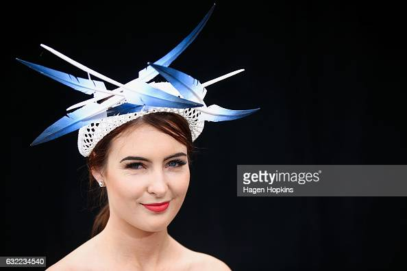 A racegoer shows off her headpiece during Wellington Cup Day at Trentham Racecourse on January 21 2017 in Wellington New Zealand