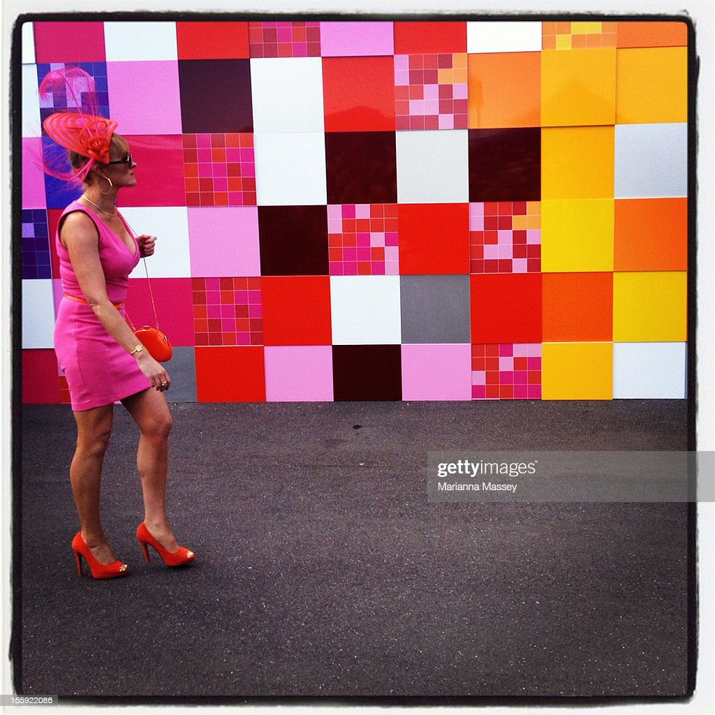 A racegoer walks through the birdcage during Crown Oaks Day at Flemington Racecourse on November 8, 2012 in Melbourne, Australia.